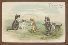 Large Victorian Birthday Card: Cats Skipping Rope. Helena Maguire.