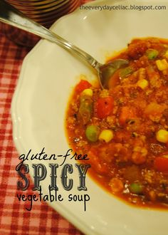 Gluten-free spicy vegetable soup recipe from theeverydayceliac. and delicious! , Gluten-free spicy vegetable soup recipe from theeverydayceliac. and delicious! Gluten Free Flatbread, Flatbread Recipes, Spicy Vegetable Soup, Healthy Low Carb Breakfast, Breakfast Recipes, Gluten Free Recipes, Healthy Recipes, Meat Recipes, Parsley Recipes