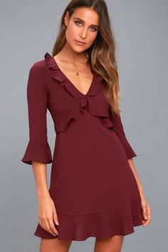 We're so grateful we found the Somebody to Love Plum Purple Ruffled Flounce Sleeve Dress! Lightweight, textured stretch-woven fabric creates a ruffled V-neckline and princess seamed bodice, plus three-quarter flounce sleeves. Fitted waist and figure-skimming sheath skirt with matching ruffled hem. Hidden side zipper.
