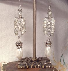 1920s Art Deco Clear Rhinestone & Pearl Sterling Silver Drop Earrings, Vintage Long Pave Crystal Dangle Bridal Statement Gatsby Flapper by AmoreTreasure