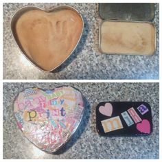 Put your favorite salt dough recipe in a tin if you have a problem with it breaking. Altoid tin was perfect for a newborn foot. Decorate as you wish.