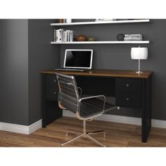 Great for small spaces. Bestar Somerville Executive desk with two pedestals