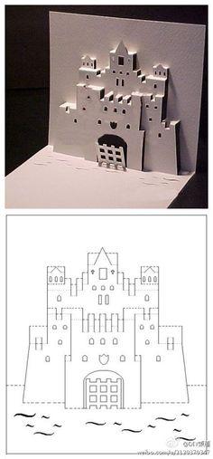 我心的城堡。照着图纸 自己做一个创意的卡片吧,记得是实线剪开,虚线不剪~
