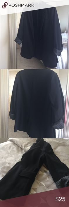 """Express Black Blazer Buttons in the middle. Can be worn with sleeves rolled up or down. Cotton. Faux pockets. I'm 5'4"""" and it hits about 1-2 inches below the waist. Great condition. No stains or snags. Express Jackets & Coats Blazers"""