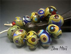 Handmade LAMPWORK Glass Bead Set DONNA MILLARD sra blue turquoise red gold brown assemblage organic desert tribal