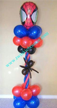 Image detail for -balloon decor :: spiderman balloon pillar - Balloon Decorations 🎈 Batman Party, Superhero Birthday Party, 6th Birthday Parties, Balloon Pillars, Balloon Tower, Balloon Crafts, Balloon Decorations, Spiderman Balloon, Superhero Balloons
