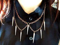 "byuma's ""Bronze Spike Peter Pan Necklace"" via Etsy - $25."