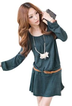 Lady's belted Dress Scoop Neck Tunic Long Sleeve Pleated Skirt Top ACEFAST INC http://www.amazon.com/dp/B00KHH73NI/ref=cm_sw_r_pi_dp_oJGStb1ZYK3ZMCW2