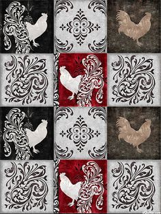 """Bonjour - Baroque Rooster Block - Black - 24"""" x 44"""" PANEL. From eQuilter.com"""