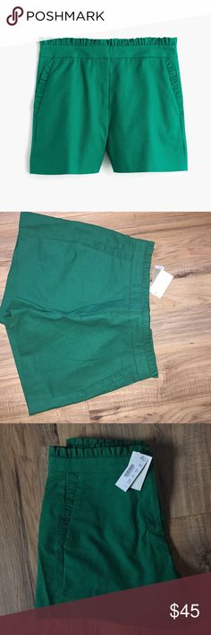 Jcrew green shorts 3inch inseam green ruffle accent shorts sits above hip. J crew Shorts