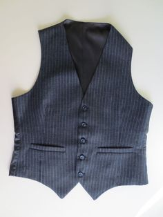 Vintage 1960's Black vest with Gray vertical stripes 40R there NO labels. #Unbranded