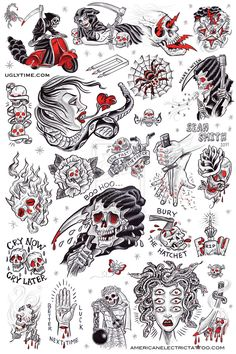 tattoo flash poster 1 by creaturetown on DeviantArt - Tattoo MAG Flash Art Tattoos, Tattoo Flash Sheet, Old Tattoos, Trendy Tattoos, Body Art Tattoos, Girl Tattoos, Tattoos For Guys, Small Tattoos, Neck Tattoos