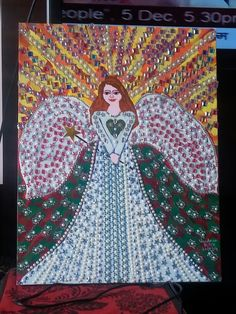 Angel...on canvas..acrylic n glitter