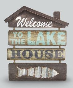 """This would be cute as """"Welcome to the funny farm"""". Lol. Another great find on #zulily! 'Welcome' Wood Wall Sign #zulilyfinds"""