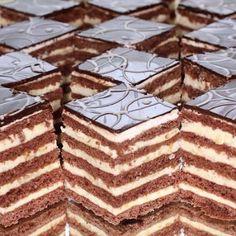 Stollwerck szelet - Ez Szuper Hungarian Desserts, Hungarian Cake, Hungarian Recipes, Chocolate Truffles, Chocolate Recipes, Pastry Recipes, Cake Recipes, Sweet Cookies, Cake Bars