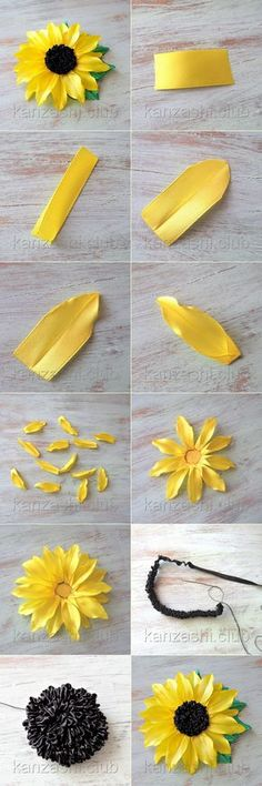 This Pin was discovered by Sha Diy Ribbon Flowers, Ribbon Flower Tutorial, Ribbon Embroidery Tutorial, Kanzashi Flowers, Giant Paper Flowers, Ribbon Art, Satin Flowers, Silk Ribbon Embroidery, Ribbon Crafts
