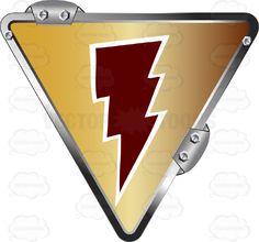 Red Lightning Bolt On Gold Inside Upside Down Grey Metal Triangle #bolt #caution #danger #electricity #energy #fuel #generation #label #lightning #PDF #poison #power #risk #safety #security #sign #speed #symbol #threat #vectorgraphics #vectors #vectortoons #vectortoons.com #warning