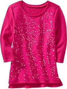 Girls Sequined Party Tees | Old Navy  The pink one and the grey one are the cutest!!