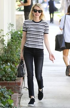 Dressing down: Emma Roberts was the picture of off-duty chic as she was pictured out and about in Santa Monica, Los Angeles, on Tuesday