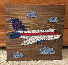 Airplane String Art, nursery, pilot - order from KiwiStrings on Etsy! www.kiwistrings.etsy.com