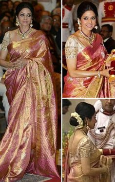 Padmashri Award For Sridevi-Kudos to Sridevi for receiving a Padma Shri! And to collect this honor, she went back to her roots and sported a traditional weave sari. A bun, a pearl drop necklace and jhumkas completed her look. She looked radiant indeed. Her choice of sari wins a major seal of approval from us. Congratulations Sridevi!