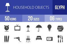 50 Household Objects Glyph Icons by IconBunny on @creativemarket