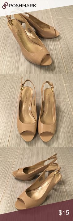 "Bandolino ""Melt"" pumps Nude peep-toe slingback pumps. Manmade upper and lining. Last photo shows stretchy portion is frayed but still intact. Offers welcome. Bandolino Shoes Heels"