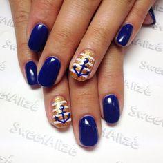 shellac+nail+art | Cute nautical nails for @bmerc24 over her natural nails  #axxium # ...