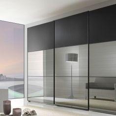 Furniture Futuristic Modern Mirror Sliding Wardrobe Door With Amazing White Rattan Chair And Lamp Shade Closet Plans Doors