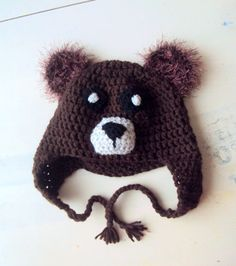 Babies Kids Chunky Bear Hat Winter Hat with Ear Flaps Crochet Beanie Women Men Fall Winter Accessories Baby Toddler Child and Adult Size by GrahamsBazaar