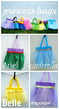 Party Ideas Hot glue princess bags These would be adorable as favor bags for a princess party Disney Princess Birthday, Disney Princess Party, Princess Theme, Cinderella Party, Princess Aprons, Disney Diy, Disney Crafts, Disney Mickey, 4th Birthday Parties