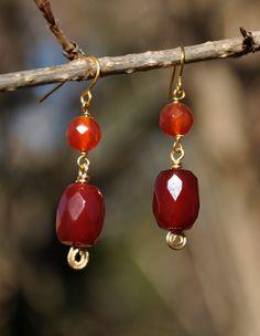 Faceted red agate drop earrings. $19.95, via Etsy.