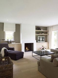 Belgian Style Interiors: Living Rooms (Modern Country Style) - Home Designs 2017 Modern Country Living Room, Home Living Room, Living Room Furniture, Home, Living Dining Room, Home Fireplace, Small Living Room, Interior Design, Country Living Room