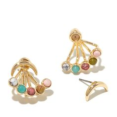 """Danielle Nicole """"Sun Stone"""" Multicolor Stone Goldtone Front-to-Back Ray Earrings"""