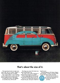VINTAGE AD FOR VW BUS BRAGS ABOUT FUEL EFFICIENCY