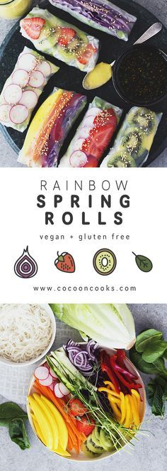 Bright and crunchy Rainbow Spring Rolls with a lushious Mango, Basil & Lime Tahini Cream! #vegan #healthy #recipe