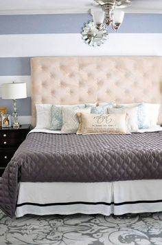 A master bedroom makeover featuring affordable furniture & DIY accents. For more affordable room makeover ideas, visit www.monicawantsit.com