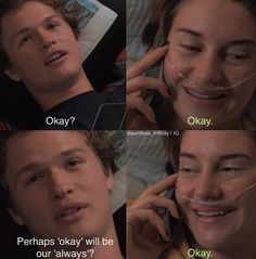 OKAY savetfios tfios thefaultinourstars thefaultinourstarsmovie anselelgort ansel agustuswaters johngreen laugh love life amsterdam shailenewoodley shailene hazelgrace hazelgracelancaster cancer hope blue okay loveintheair cute Hazel And Augustus, Fault In The Stars, Love You All, My Love, Hush Hush, Ansel Elgort, John Green Books, Augustus Waters, Favorite Movie Quotes