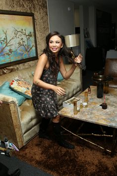 Janel Parrish from Pretty Little Liars #PLL. Furniture provided by Eastern Furniture featured on Dancing With The Starts! #DWTS Image via Social Hill, LLC and/or Celebrity Black Card, LLC