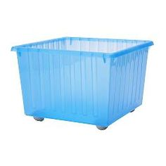 IKEA - VESSLA, Storage crate with casters, , Casters included.The top edge serves as a handle, which makes the storage crate easy to lift and carry.Stackable.  Saves space when not in use.