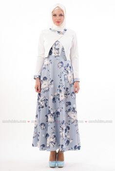 Butik Neşe - Çiçekli Mavi Elbise Takım - 2240-05