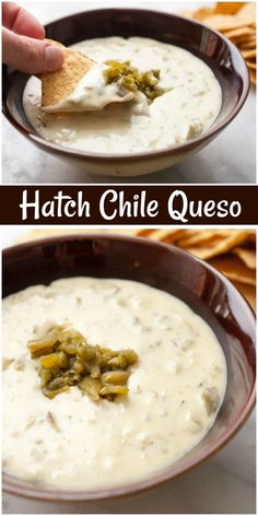Hatch Chile Queso dip recipe from via recipegirl Hatch Green Chili Recipe, Green Chili Recipes, Hatch Chili, Hatch Chile Salsa, Poblano Chile, Dip Recipes, Appetizer Recipes, Mexican Food Recipes, Cooking Recipes