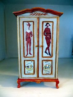 Dollhouse Miniature Hand Painted Armoire Furniture 1:12 scale C. Comins Artist