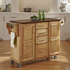 Natural Finish 4-drawer Cart | Overstock.com Shopping - Great Deals on Kitchen Carts
