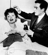 Edith Piaf, knitting in hospital, 1959