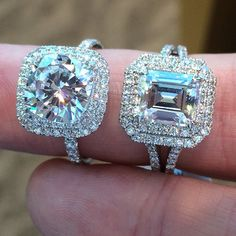 Round center with cushion shaped double halo, and an Emerald cut diamond center with matching double halo