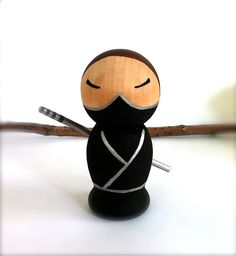 NINJA Kokeshi Wooden Doll Ninja Geekery by CreativeButterflyXOX, $38.00