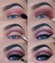 makeup step by step 60 tutoriels de maquillage pour les yeux faciles pour les débutants Idées éta. 60 einfache Augen Make-up Tutorials für Anfänger Schritt für Schritt Ideen (Augenbrauen und Lidschatten), Eye Makeup Steps, Makeup Eye Looks, Simple Eye Makeup, Skin Makeup, Eyeshadow Makeup, Eyeliner, Pink Eyeshadow, Drugstore Makeup, Easy Eyeshadow