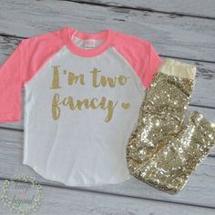 2nd Birthday Outfit Girls Birthday Shirt I'm Two Fancy Shirt Pink and Gold Birthday Toddler Birthday Party Outfit Set with Pants 137 - Bump and Beyond Designs