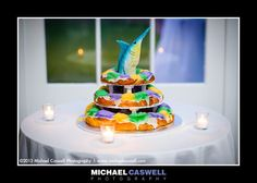 New Orleans wedding king cake, OK NO fish on top but Jeremy would LOVE it...